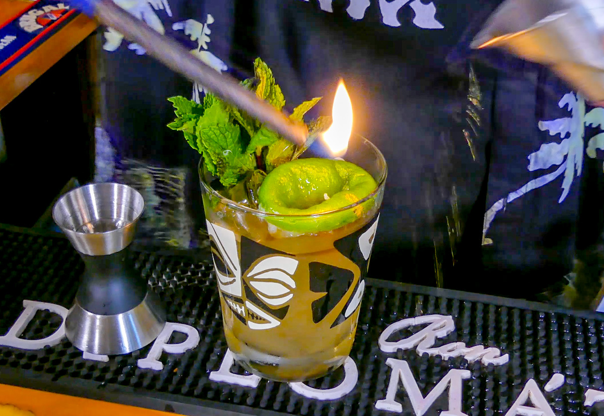 A real Mai Tai Tiki Cocktail recipe, featuring Jamaican rum and French Rhum, along with lime juice, almond syrup and orange Curaçao liqueur.