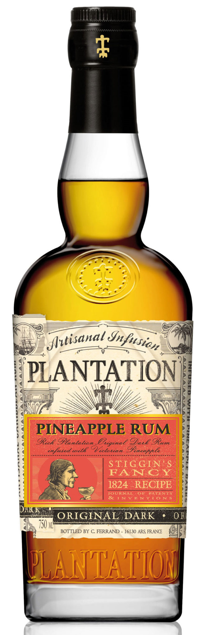 Plantation Stiggin's Fancy Pineapple Original Dark Rum is a delightful artisanal infusion of pineapple fruit and skins; a blend of light and dark overproof rums that delivers authentic pineapple flavor.