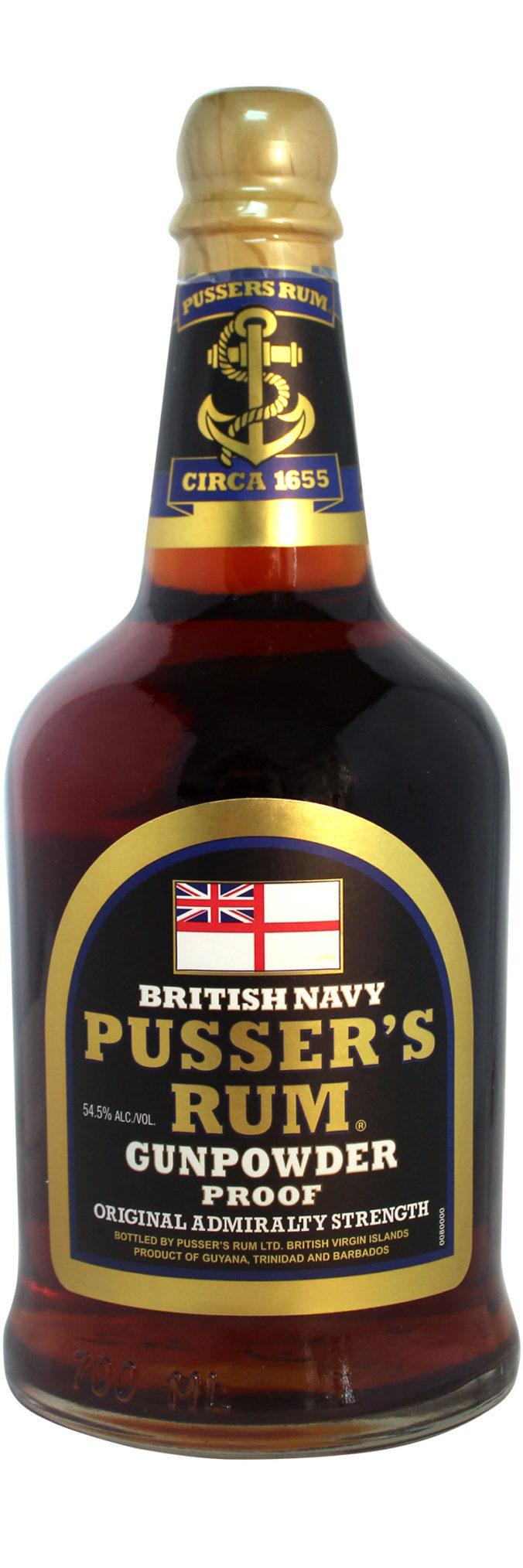Pusser's Gunpowder Proof Rum is bottled at 54.5%
