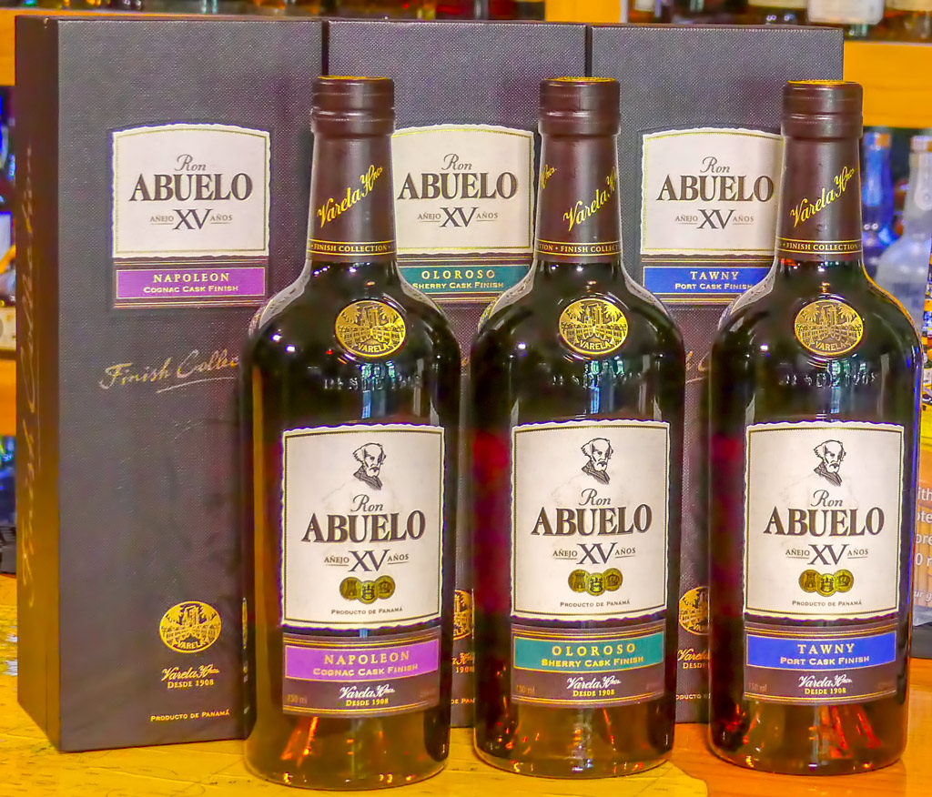 Abuelo XV Finish Collection limited edition aged rums from Panama, Abuelo Añejo XV Años Tawny Port Cask Finish, Abuelo Añejo XV Años Oloroso Sherry Cask Finish, Abuelo Añejo XV Años Napoleon Cognac Cask Finish