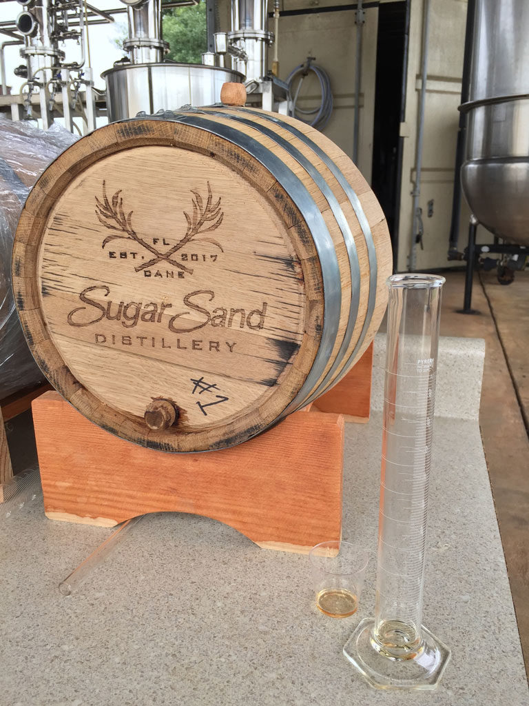 small barrel of rum at Sugar Sand Distillery