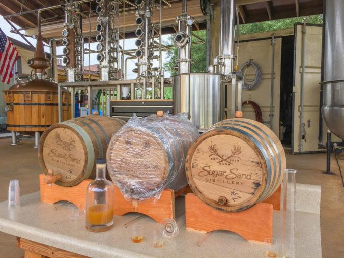 rum barrels at Sugar Sand Distillery