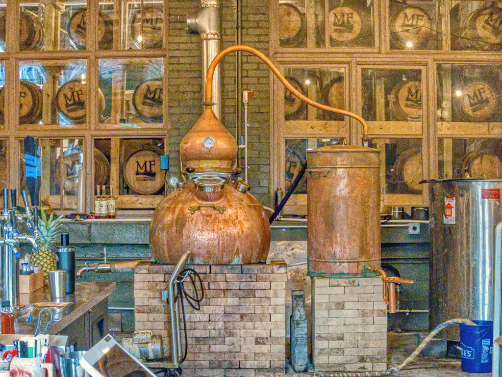 alembic coper pot still at Maggie's Farm Rum distillery