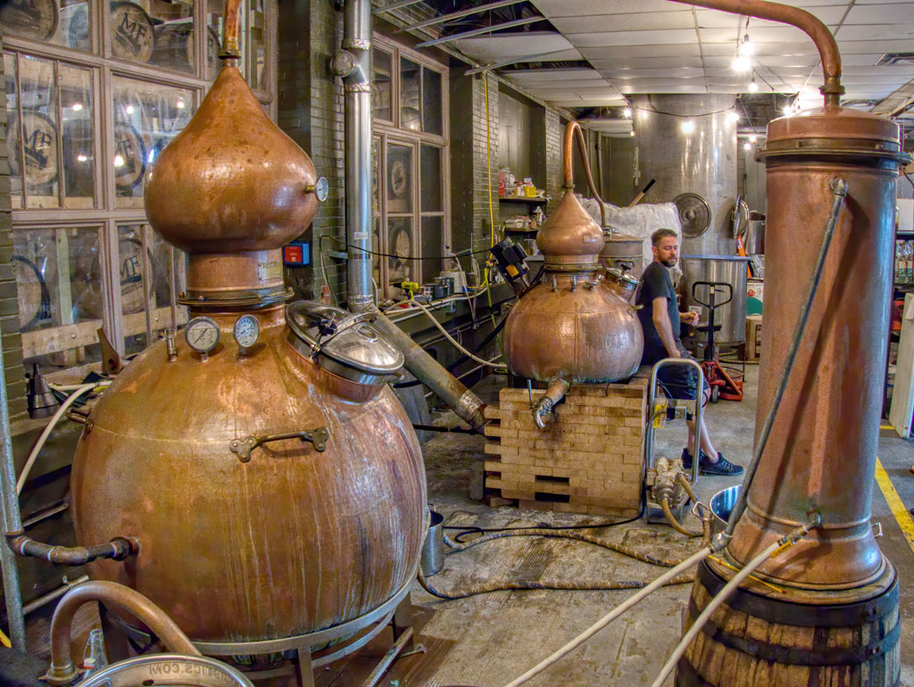 Maggie's Farm Rum pot stills at Maggie's Farm Rum Distillery