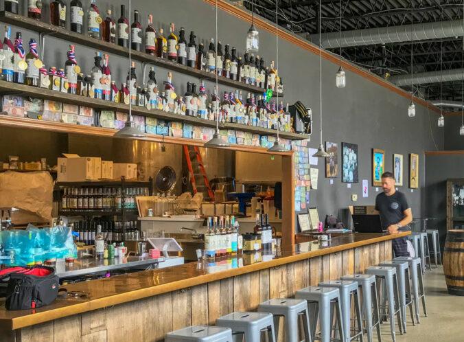 the tasting bar at Maggie's Farm Rum Distillery