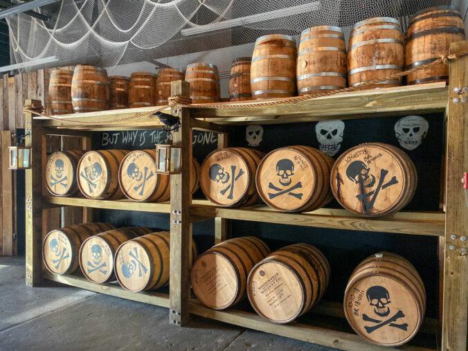 barrels aging rum at Tampa Bay Rum Company