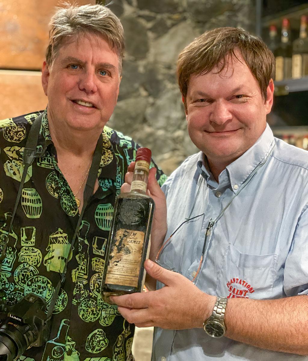 Master Distiller Marc Sassier shares a bottle of Rhum Saint James vintage 1885
