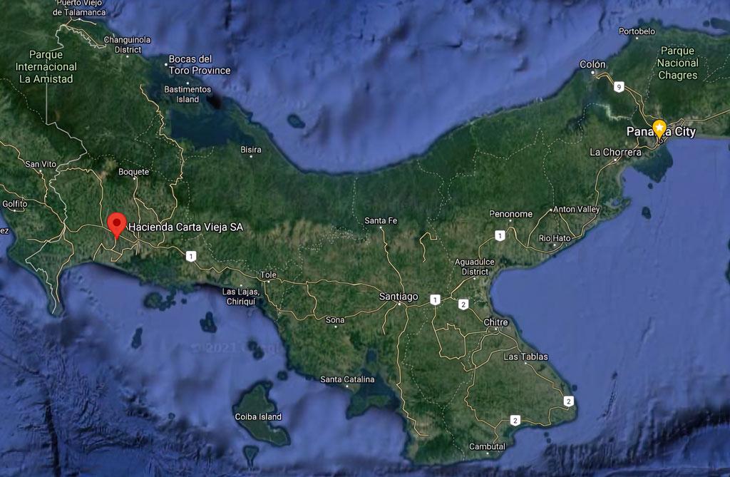 Hacienda Carta Vieja map of Panama